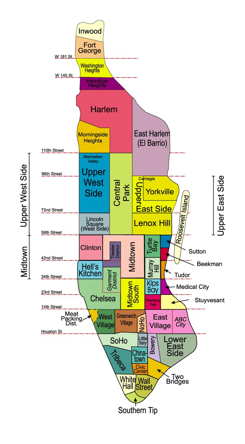 New york neighborhoods by proximity to manhattan - Callejero manhattan ...